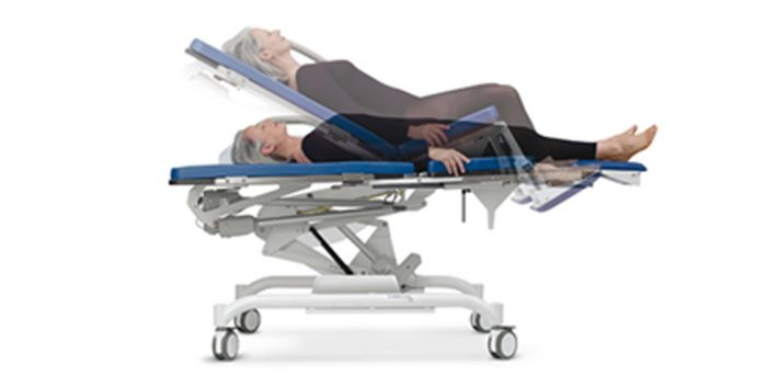 Medical bed / chair with castors